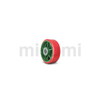 球墨铸铁脚轮用车轮 加宽型 聚氨酯车轮(带轴承) TULB