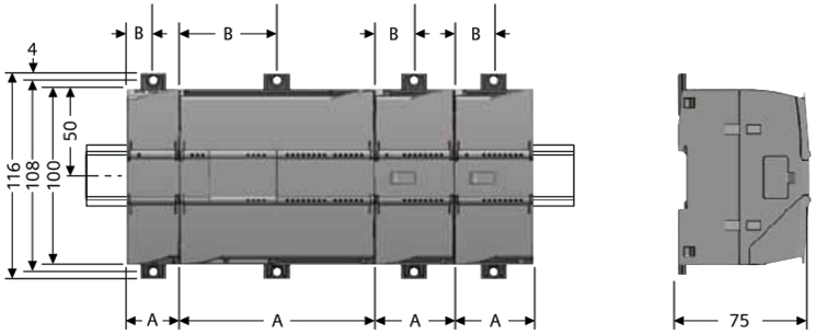 SIMATIC S7-1200 PLC 尺寸图1